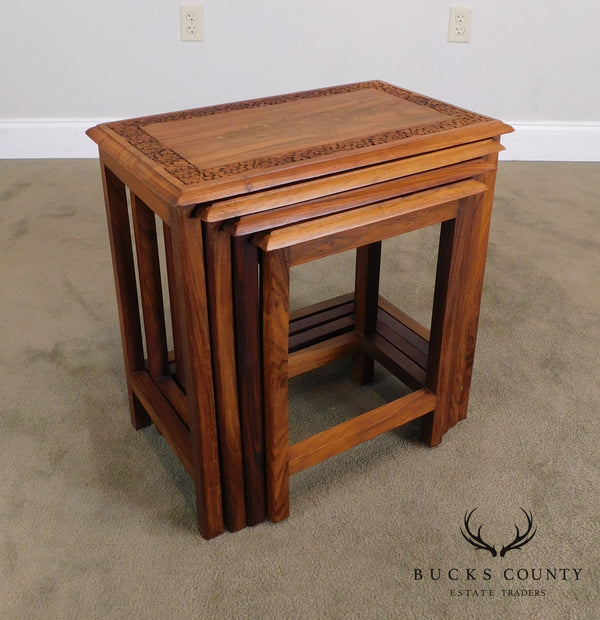 Anglo Indian Solid Teak Wood Nesting Tables with Brass Inlay