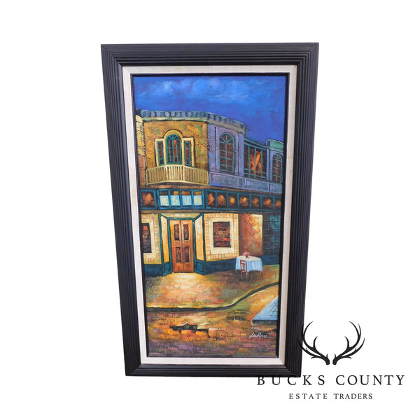 "Framed Painting ""Vesuvio"" Restaurant and Street Scene by LaPierre"