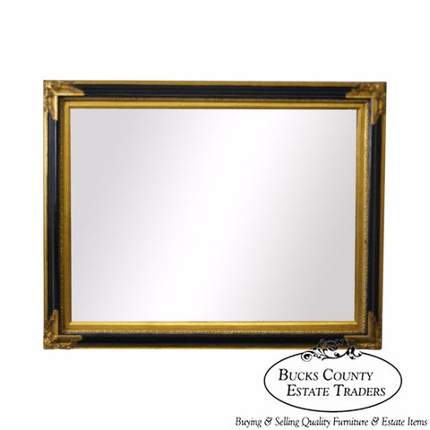 John Richard Black & Gold Regency Style Beveled Wall Mirror