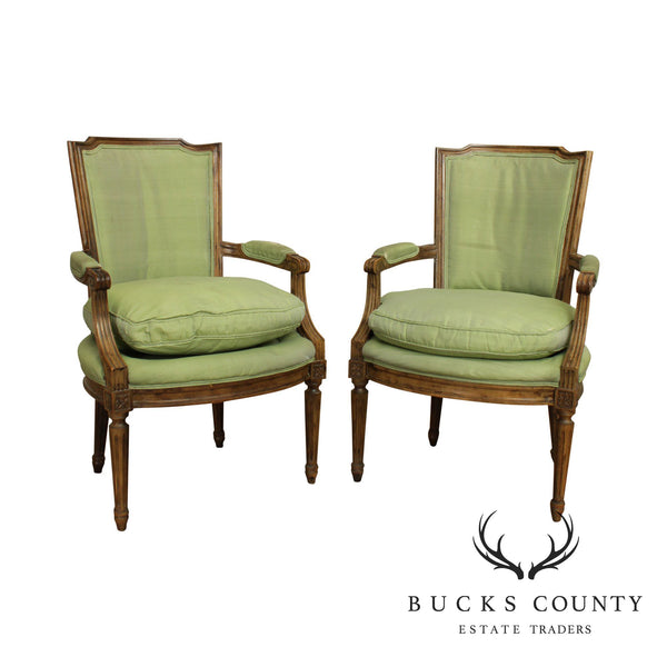 French Louis XVI Style Vintage Custom Quality Pair Fautieuls Armchairs Frames