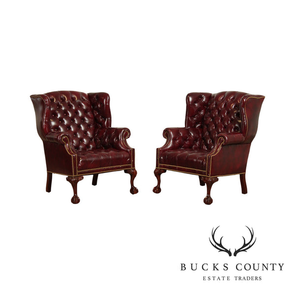 Hancock and Moore Chippendale Mahogany Ball & Claw Oxblood Chesterfield Pair Wing Chairs