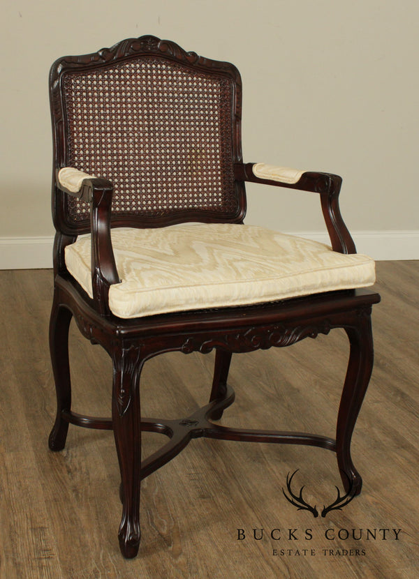 French Louis XV Style Carved Frame Caned Armchair