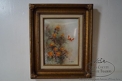 Max Karp Enamel on Copper Painting Butterfly w/ Flowers