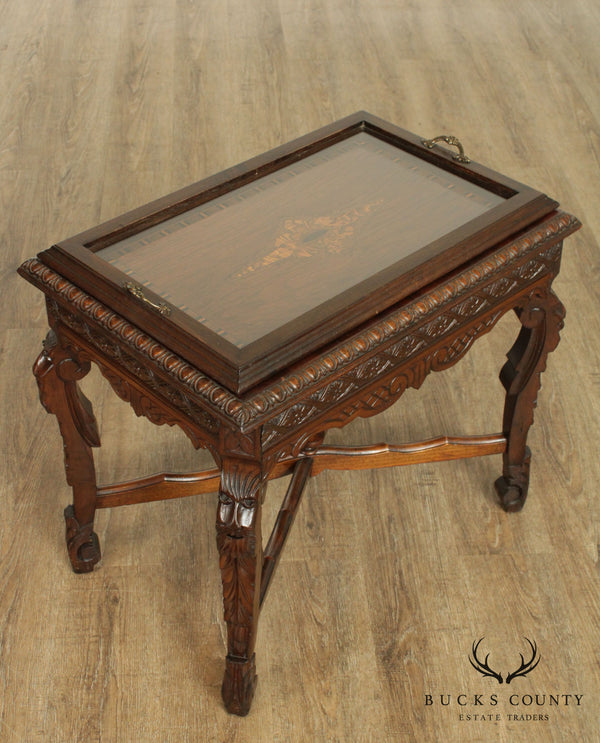 1930's Vintage Carved and Inlaid Art Deco Tray Top Coffee Table