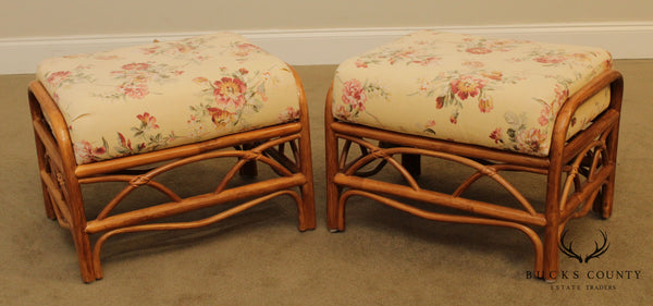 Asiatic Mercantile Quality Vintage Pair Rattan Ottomans