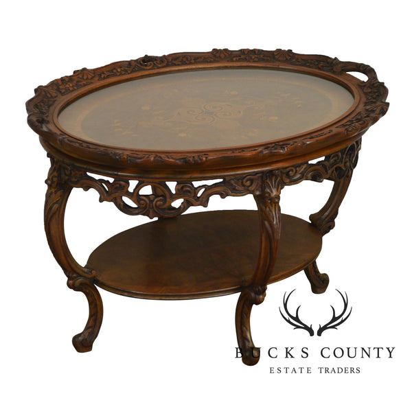 1930's French Louis XV Style Marquetry Inlaid Carved Tray Top Coffee Table