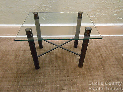 Vintage MidCentury Hollywood Regency Faux Bamboo Brass Based Glass Top End Table