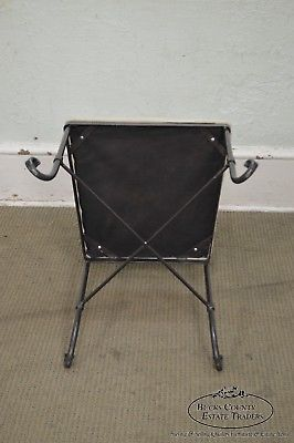 Custom Wrought Iron Set of 4 Lyre Back Dining Chairs