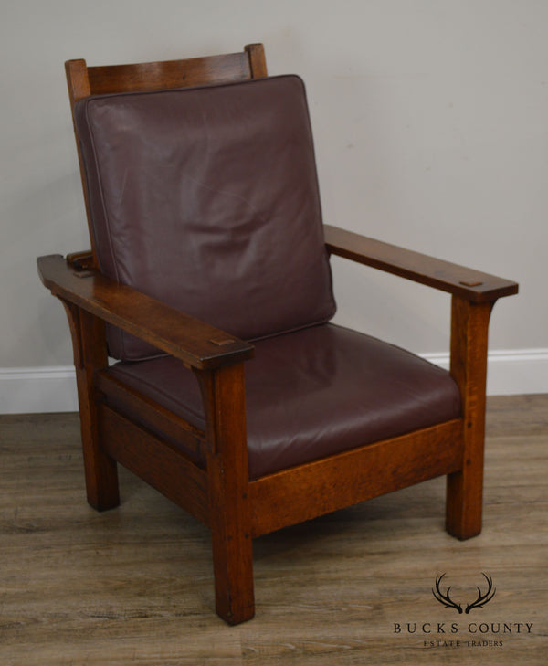 L & J G Stickley Antique Mission Oak Arts & Crafts Morris Chair