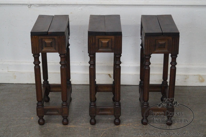 Vintage Set of 3 Italian Walnut Fold Out Top Side Tables