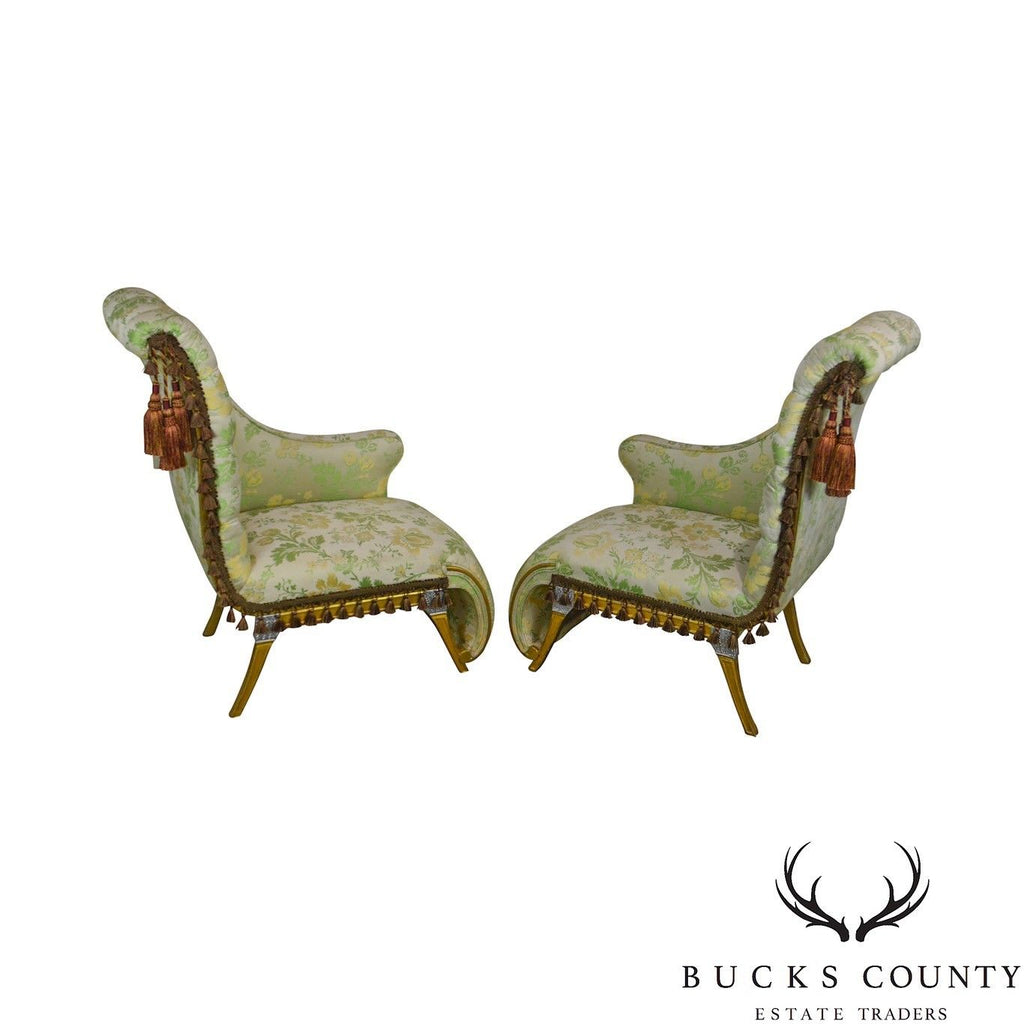 French Louis XV Style Vintage Pair Silver Gilt Recaimers Small Chaise Lounges