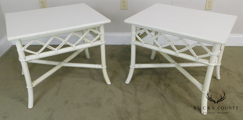 Ficks Reed White Painted Rattan Vintage Pair Side Tables