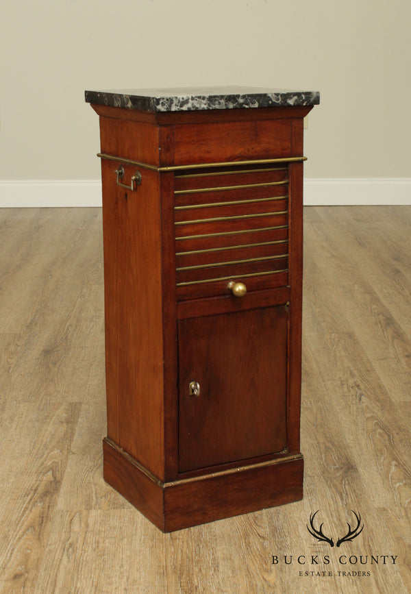 Antique 19th Century Regency Style Mahogany Marble Top Pot Cupboard