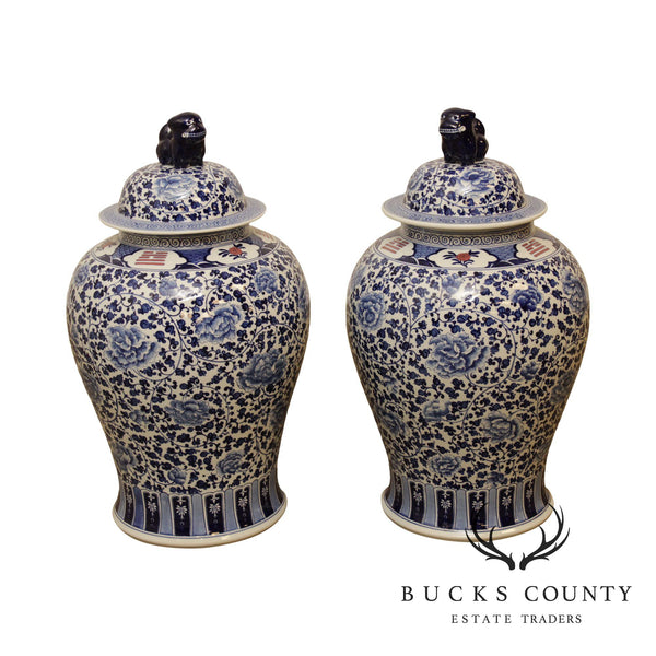 Vintage Pair Blue & White Chinese Porcelain Ginger Jar Vases