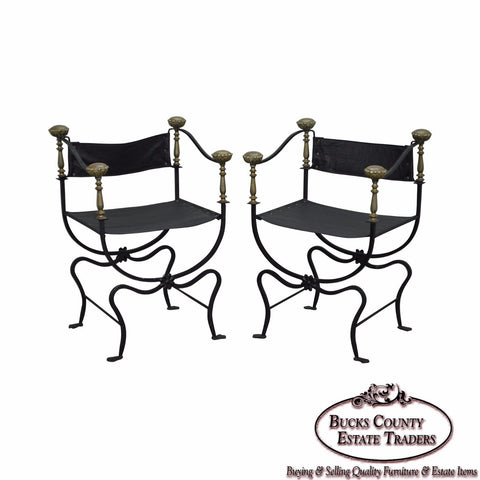 Iron Brass & Leather Pair of Savonarola Curule Arm Chairs