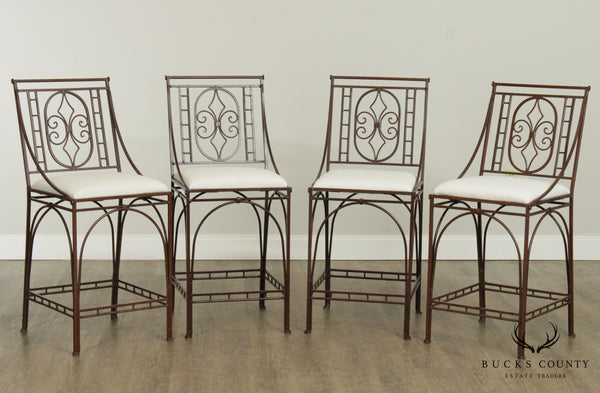 Custom Wrought Iron Set 4 Counter Height Bar Stools