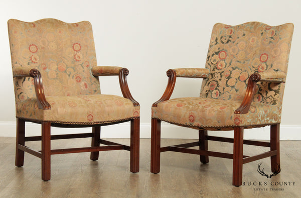 Virginia Craftsmen Reproduction Chippendale Style Mahogany Pair Armchairs