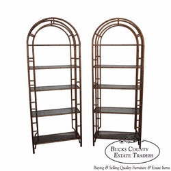 Hollywood Regency Pair of Gilt Metal Faux Bamboo Etageres