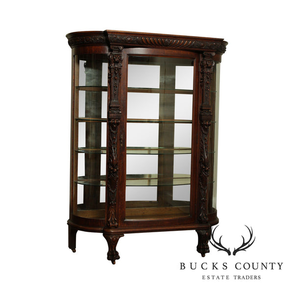 A. J. Johnson & Sons Victorian Antique Carved Bow Glass China Cabinet