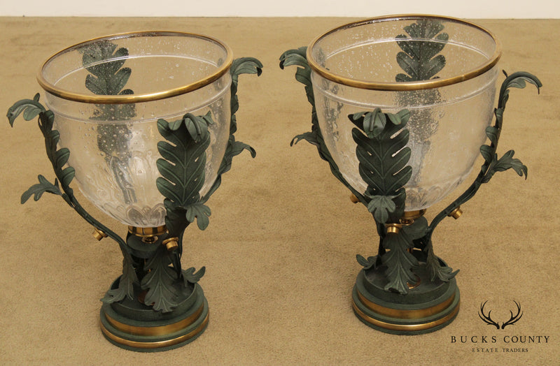 Quality Pair of Grecian Neo Classical Style Tole Metal Glass Hurricane Candle Holders