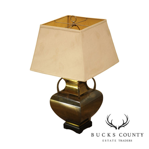 Brass Table Lamp with Shade, Square Urn Shape