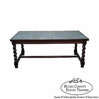 Antique Arts & Crafts Oak Barley Twist Green Tile Top Dining Table