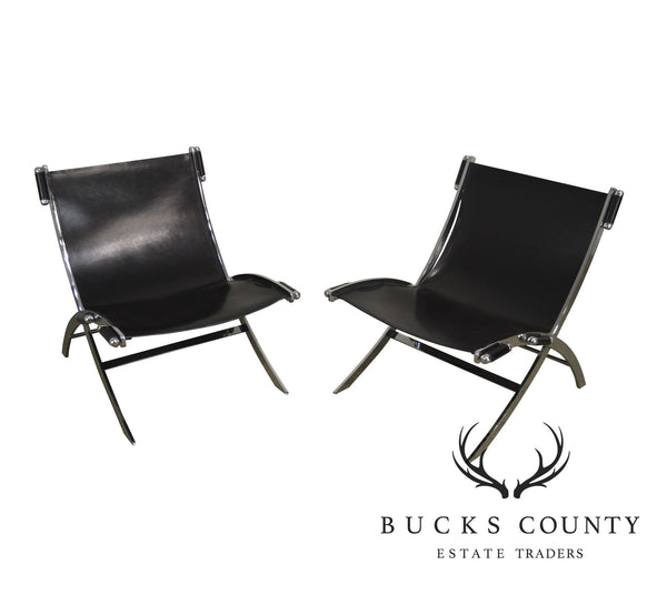 Antonio Citterio Flexform Italian Chrome & Black Leather Pair Scissor Lounge Chairs