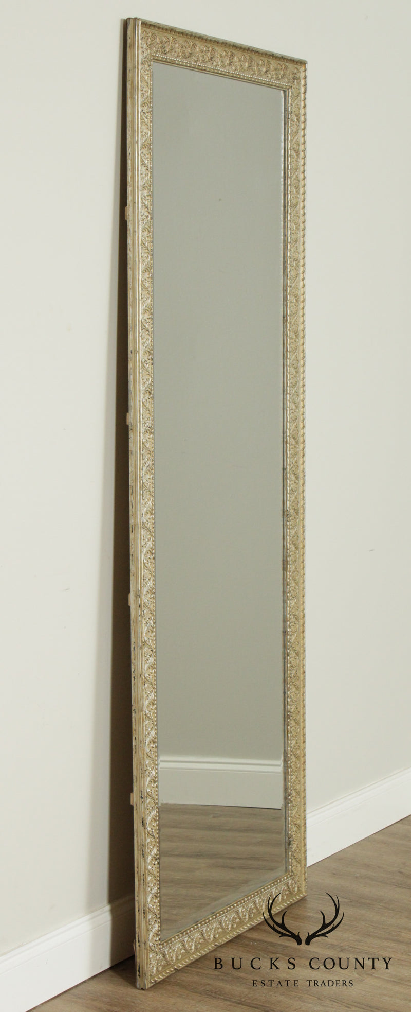 Sheffield Home Louis XV Style Silver Frame Beveled Leaner Mirror