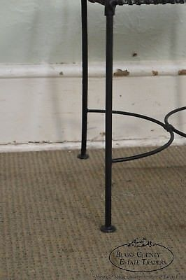 Wrought Iron & Leather Pair of Arm Chairs