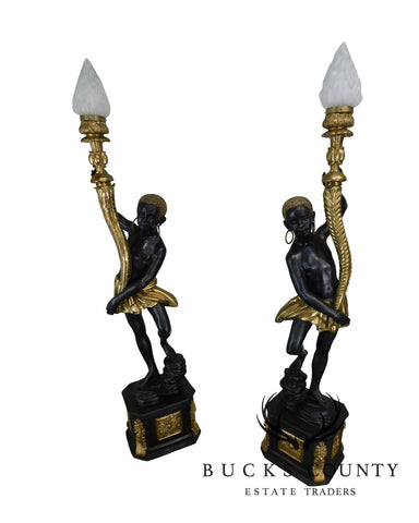 Empire Style Large Bronze Pair Blackamoor Candelabras Statues