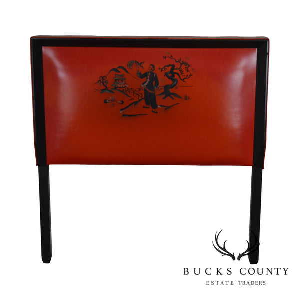 Mid Century Asian Influenced Red & Black Vinyl Twin Headboard