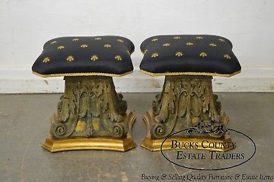 Vintage Pair of Carved Corinthian Acanthus Capital Stools