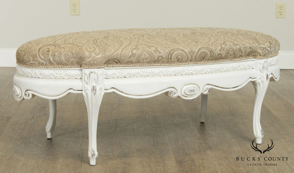 French Louis XV Style Custom White Painted Oval Ottoman