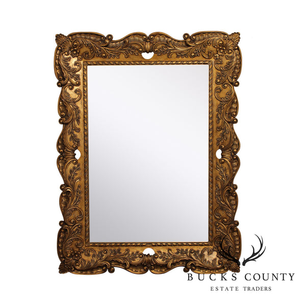 Maitland Smith, Labarge Carved Gold Frame Beveled Wall Mirror