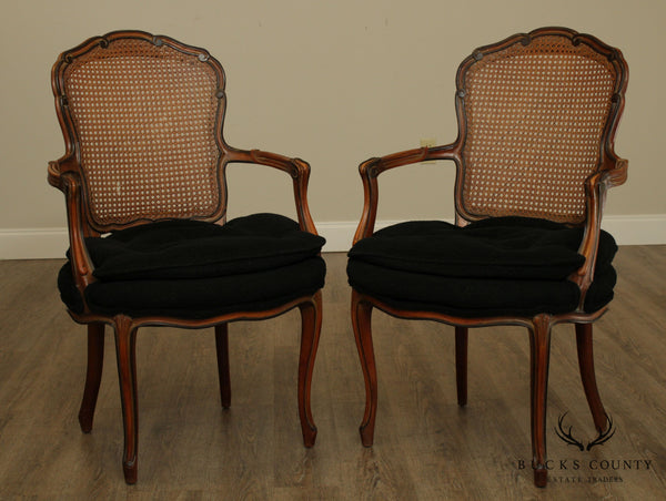 1950's French Louis XV Style Custom Quality Cane Back Pair Fauteuil Armchairs