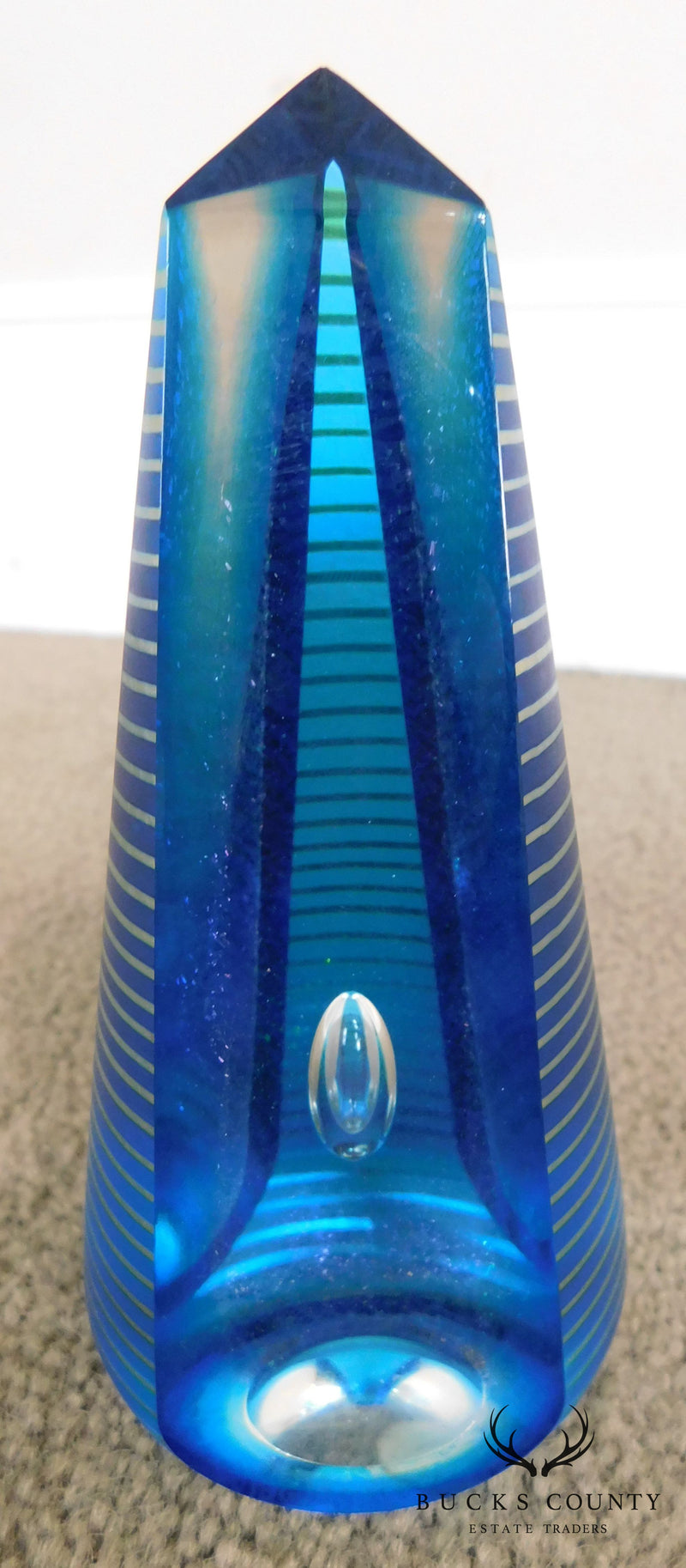 Blue & Clear Glass Controlled Bubble Obelisk Signed Paperweight