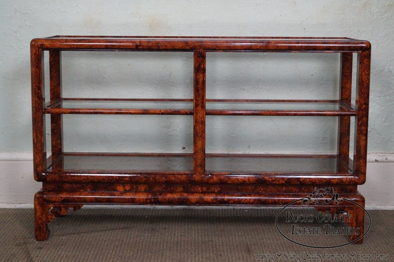 Custom Quality Faux Painted Asian Influenced Etagere Console