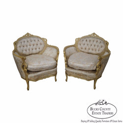 Vintage Pair of Carved Paint Frame French Louis XV Style Bergere Chairs