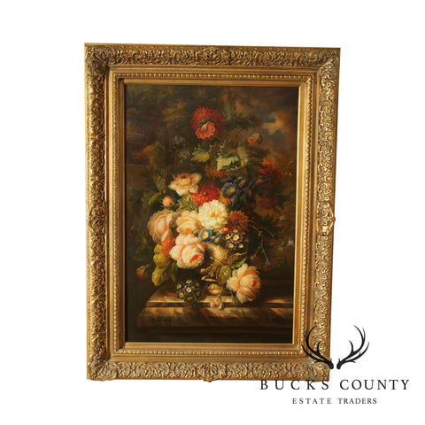 Gilt Frame Victorian Style Still Life Oil Painting on Canvas of Flowers