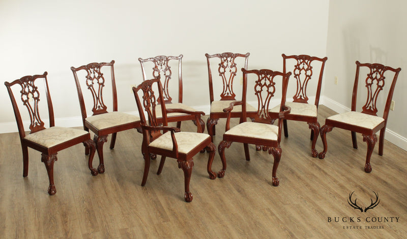 Chippendale Style Set 8 Solid Mahogany Carved Ball and Claw Dining Chairs