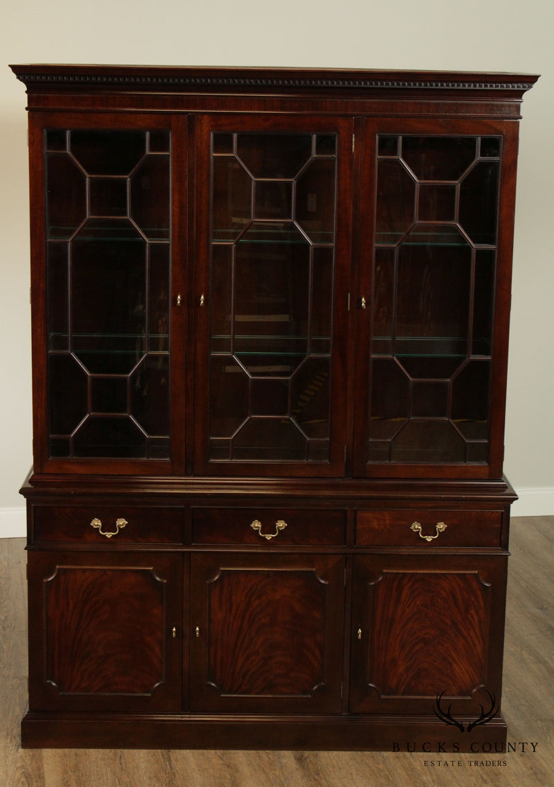 Stickley Mahogany Chippendale Style China Cabinet, Breakfront