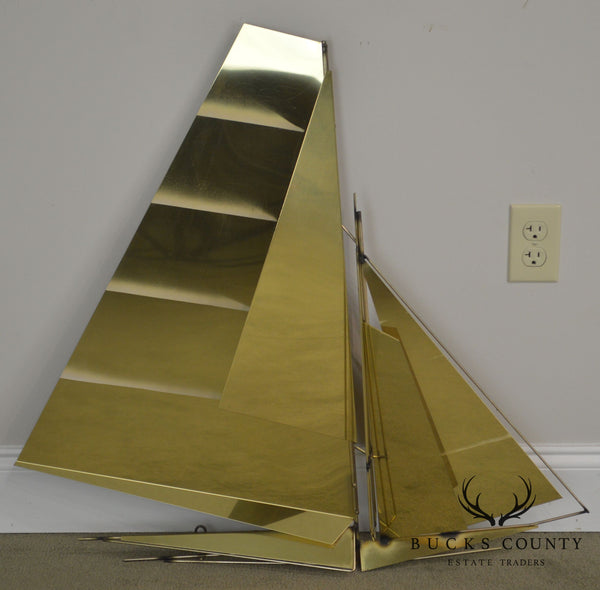 Curtis Jere Large Brass Wall Sculpture of Sailboat