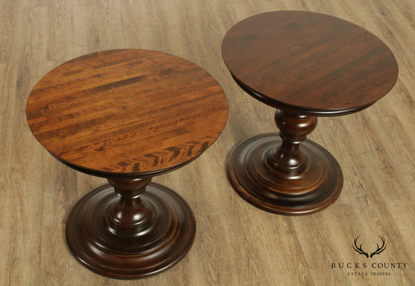 "Ethan Allen American Artisan 28"" Round Pair Pedestal Side Tables"