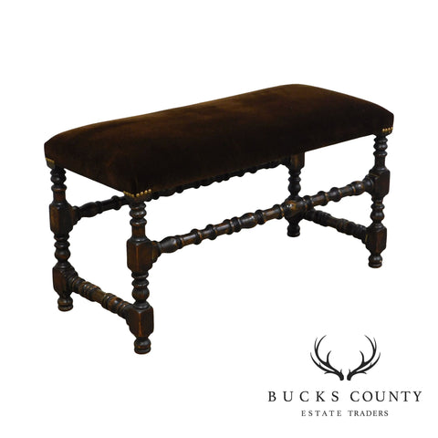 Jacobean Style Antique Walnut Window Bench