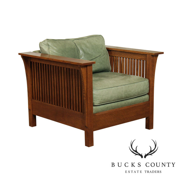 Stickley Mission Collection Oak Spindle Side Cube Chair