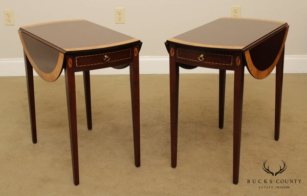 Madison Square Federal Style Mahogany Inlaid Pair Pembroke Tables