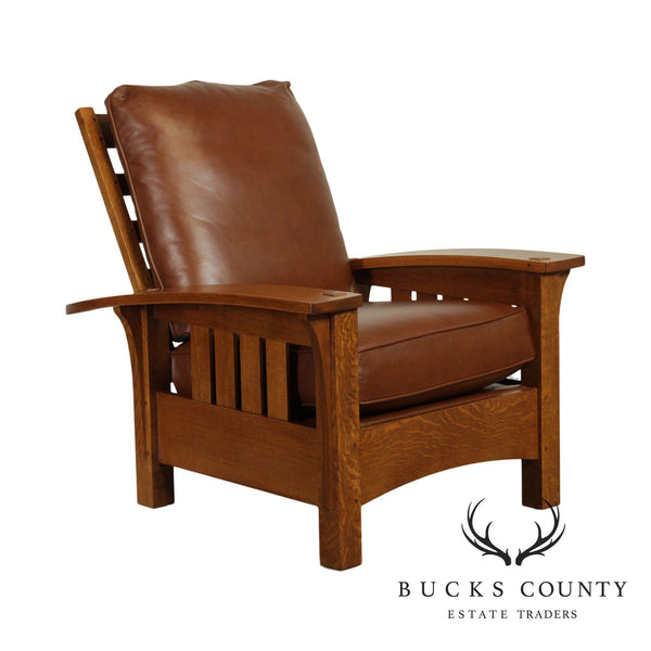 Stickley Mission Collection Oak & Brown Leather Bow Arm Morris Chair