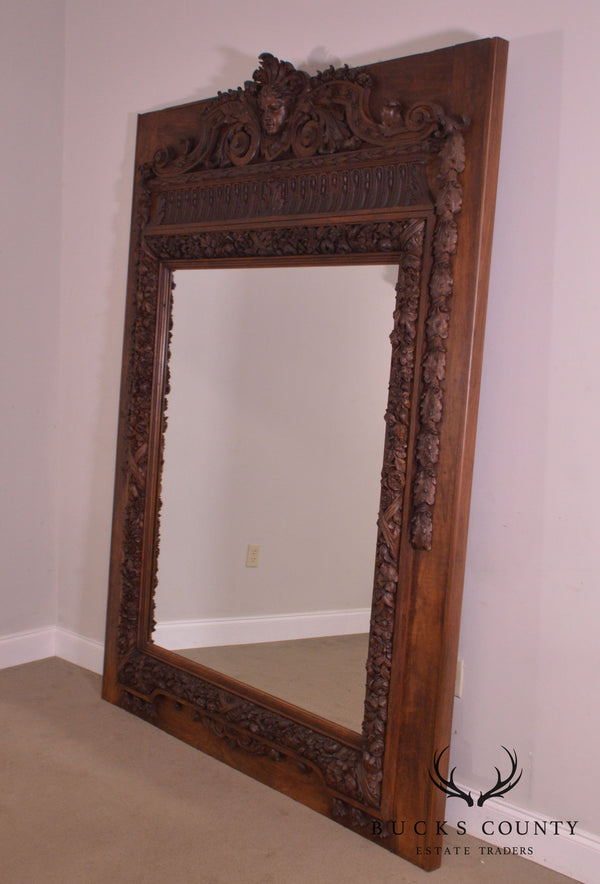 Monumental Victorian Renaissance Revival Carved Walnut Trumeau Pier Mantel Mirror