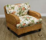 Walters Wicker Custom Pair Lounge Chairs with Ottoman