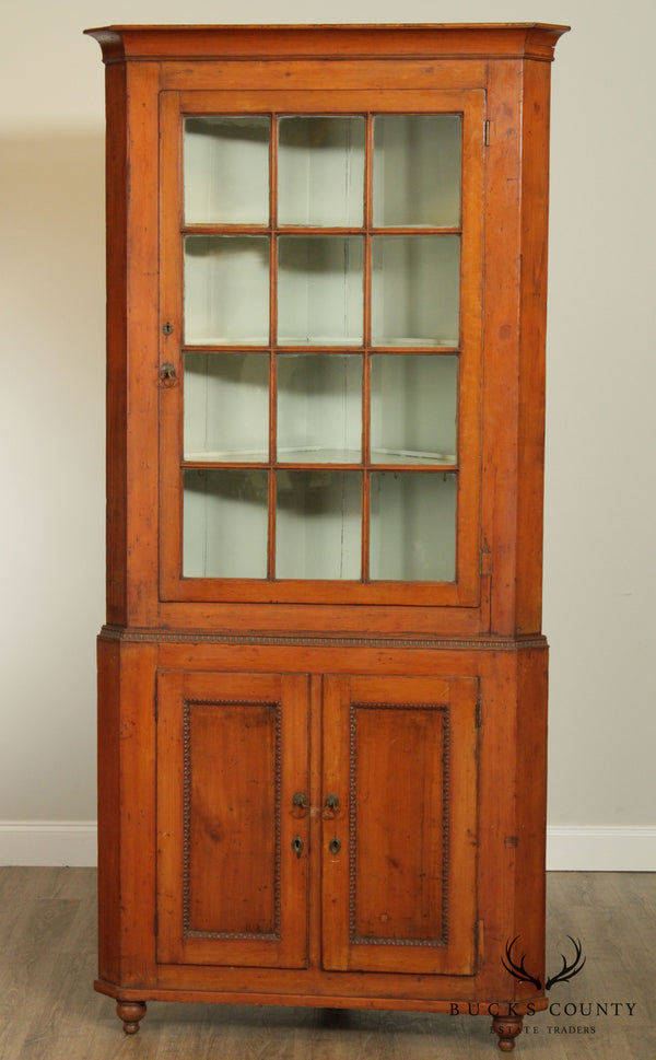 Antique 19th Century Lehigh Valley Pennsylvania Poplar Corner Cabinet